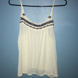 Tank top with embroidered border